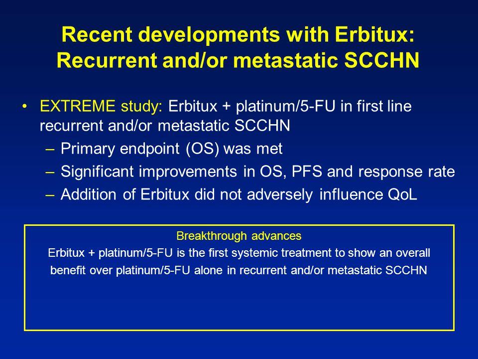 Recent developments with Erbitux: Recurrent and/or metastatic SCCHN