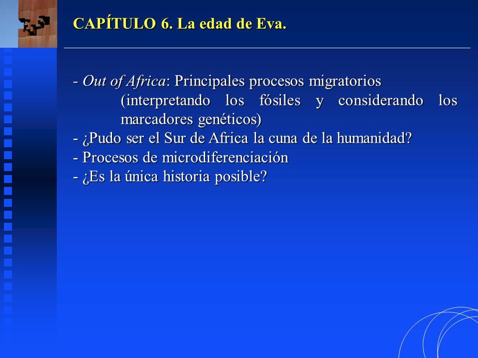 CAPÍTULO 6. La edad de Eva. - Out of Africa: Principales procesos migratorios. (interpretando los fósiles y considerando los marcadores genéticos)