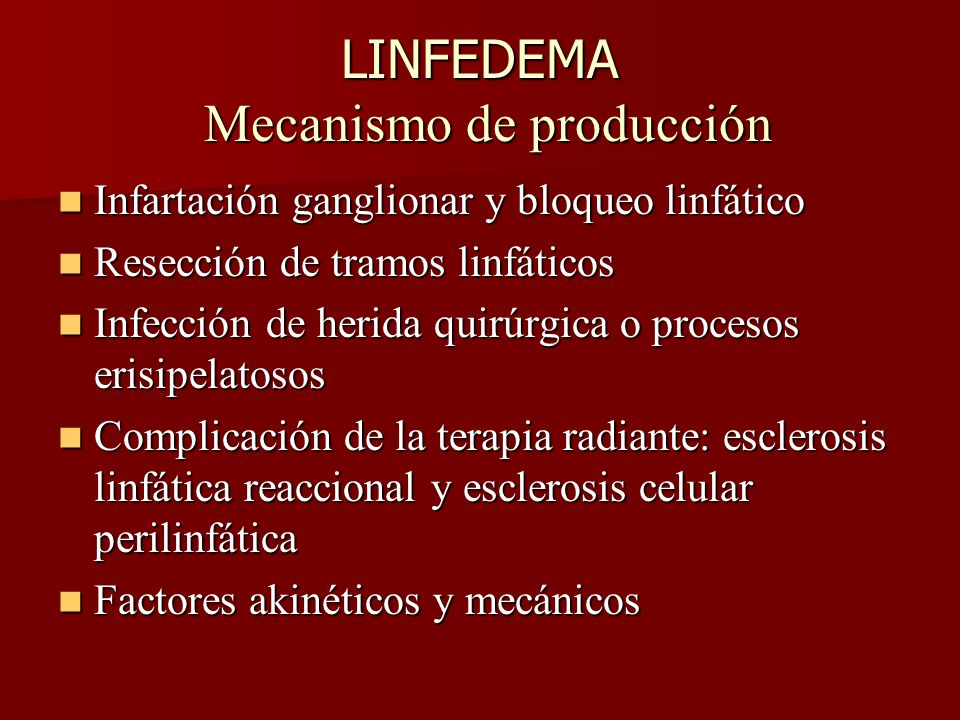 LINFEDEMA Mecanismo de producción