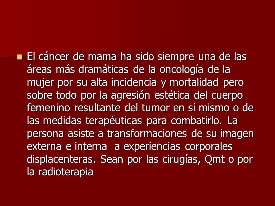 El cáncer de mama ha sido siempre una de las áreas más dramáticas de la oncología de la mujer por su alta incidencia y mortalidad pero sobre todo por la agresión estética del cuerpo femenino resultante del tumor en sí mismo o de las medidas terapéuticas para combatirlo.