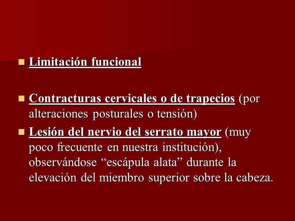 Limitación funcional Contracturas cervicales o de trapecios (por alteraciones posturales o tensión)