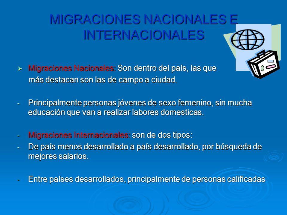 MIGRACIONES NACIONALES E INTERNACIONALES