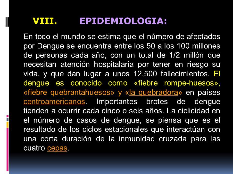 VIII. EPIDEMIOLOGIA: