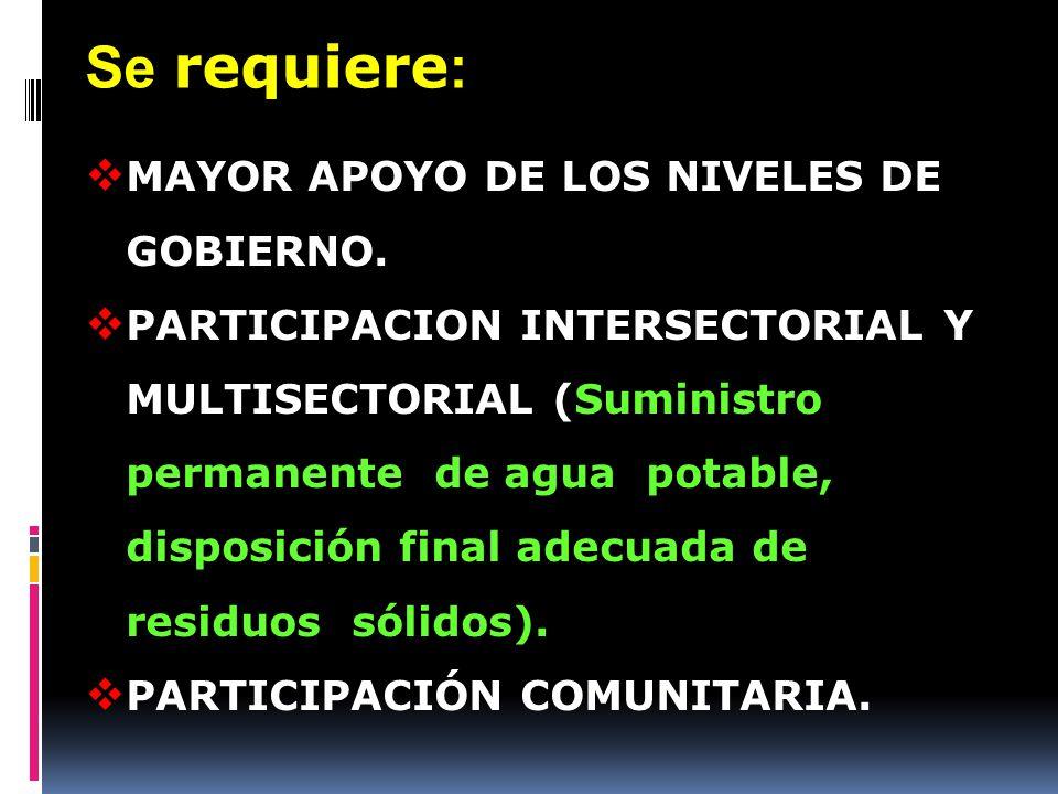 Se requiere: MAYOR APOYO DE LOS NIVELES DE GOBIERNO.