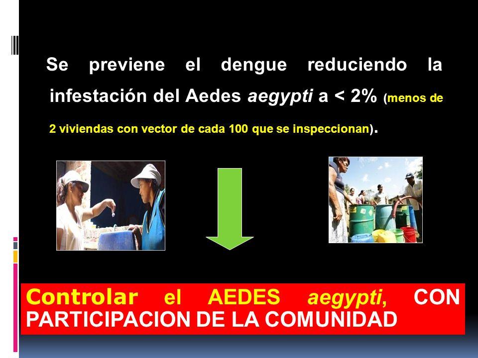 Controlar el AEDES aegypti, CON PARTICIPACION DE LA COMUNIDAD