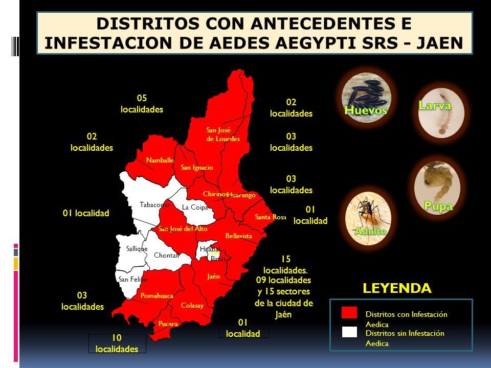 DISTRITOS CON ANTECEDENTES E INFESTACION DE AEDES AEGYPTI SRS - JAEN