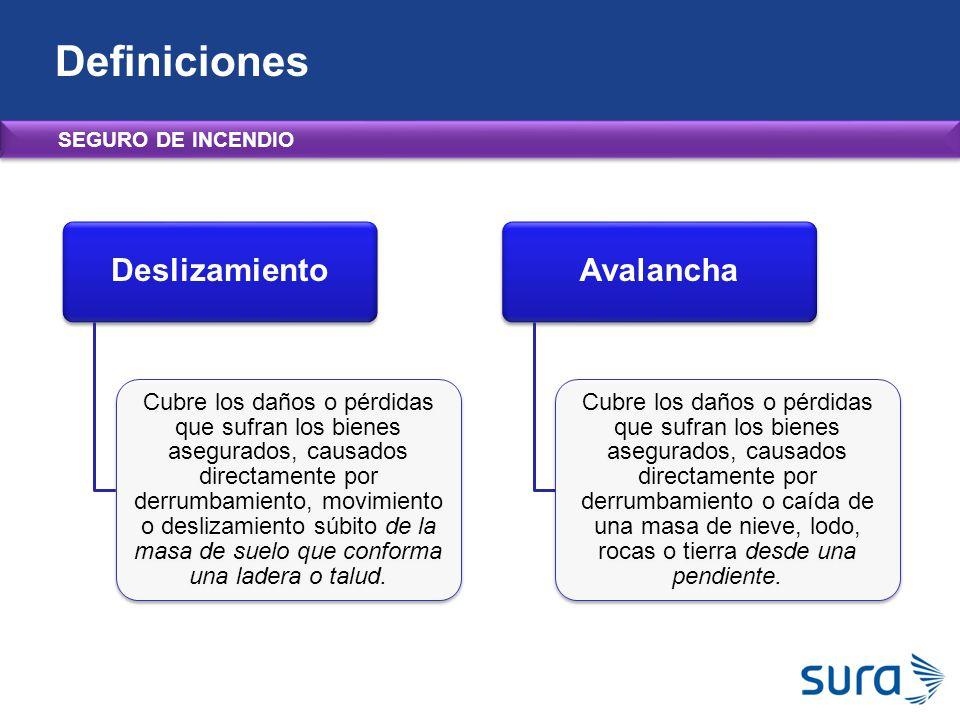 Definiciones Deslizamiento Avalancha SEGURO DE INCENDIO