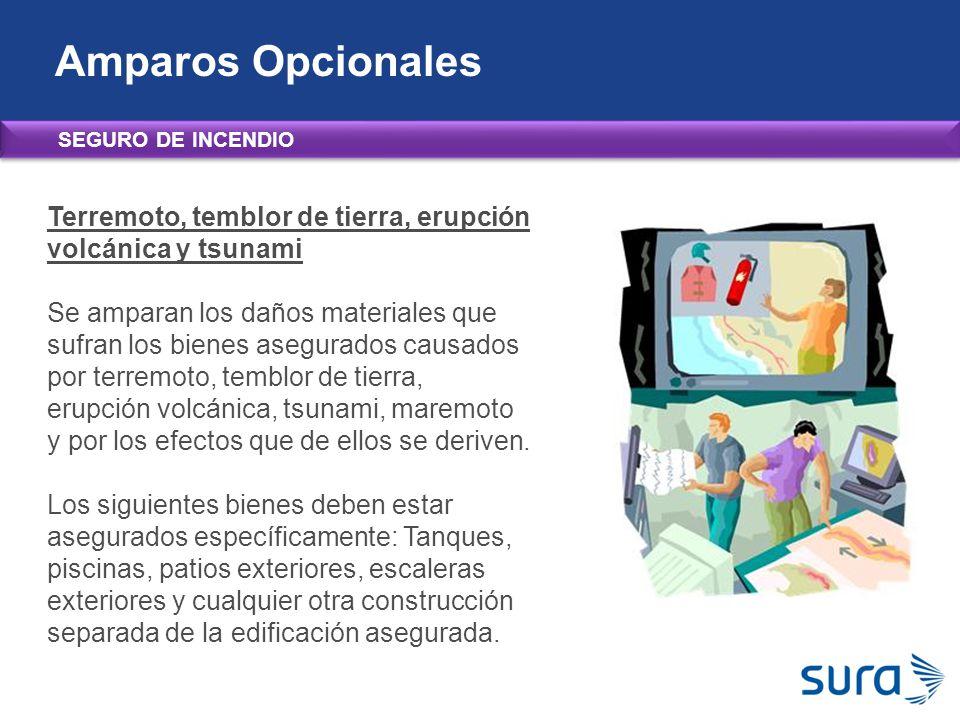 Amparos Opcionales SEGURO DE INCENDIO. Terremoto, temblor de tierra, erupción volcánica y tsunami.