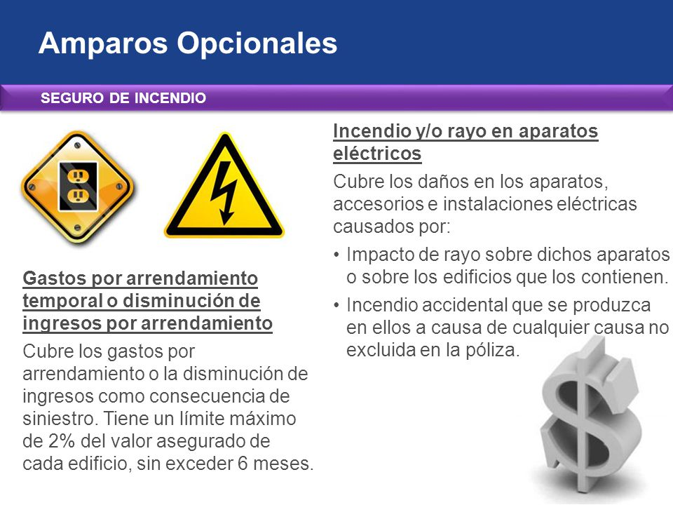 Amparos Opcionales Incendio y/o rayo en aparatos eléctricos