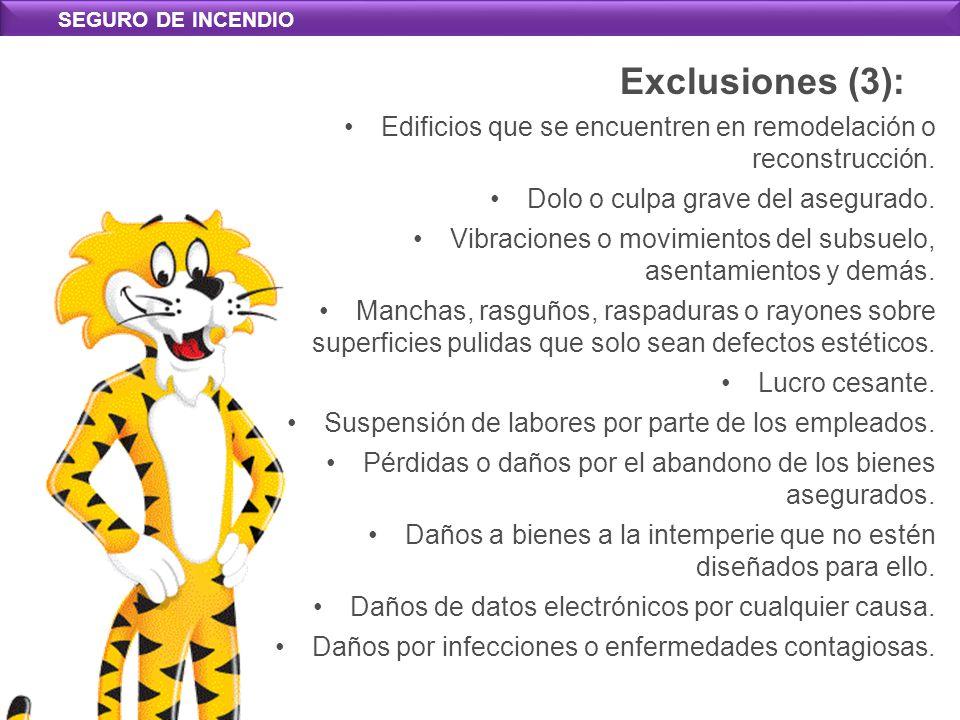 SEGURO DE INCENDIO Exclusiones (3): Edificios que se encuentren en remodelación o reconstrucción.