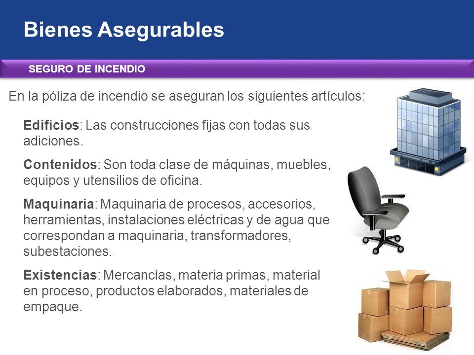 Bienes Asegurables SEGURO DE INCENDIO. En la póliza de incendio se aseguran los siguientes artículos: