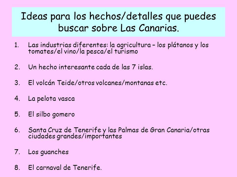 Ideas para los hechos/detalles que puedes buscar sobre Las Canarias.