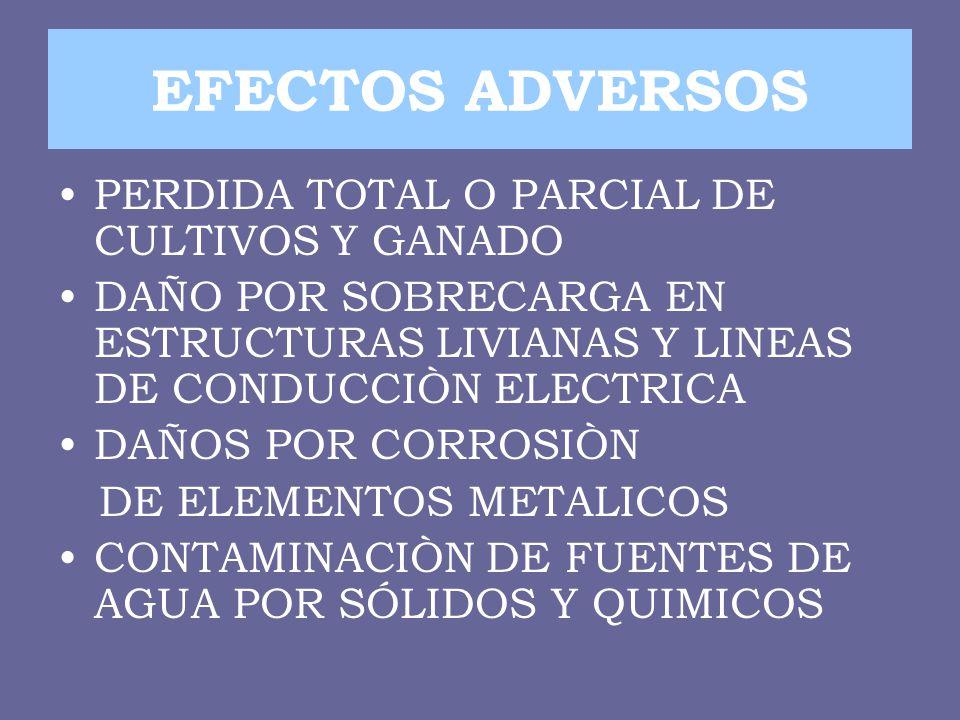EFECTOS ADVERSOS PERDIDA TOTAL O PARCIAL DE CULTIVOS Y GANADO