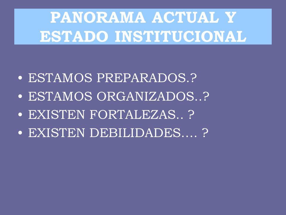 PANORAMA ACTUAL Y ESTADO INSTITUCIONAL
