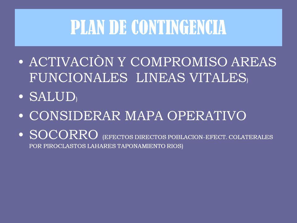 PLAN DE CONTINGENCIA ACTIVACIÒN Y COMPROMISO AREAS FUNCIONALES LINEAS VITALES) SALUD) CONSIDERAR MAPA OPERATIVO.