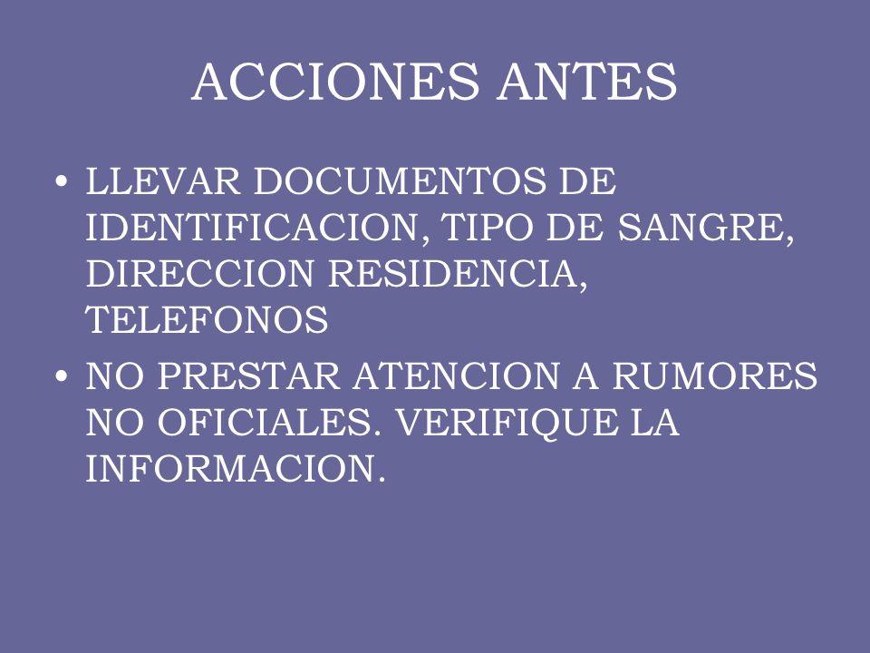 ACCIONES ANTES LLEVAR DOCUMENTOS DE IDENTIFICACION, TIPO DE SANGRE, DIRECCION RESIDENCIA, TELEFONOS.