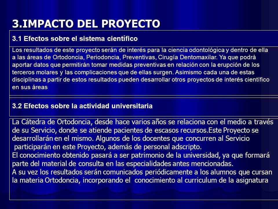 3.IMPACTO DEL PROYECTO 3.1 Efectos sobre el sistema científico