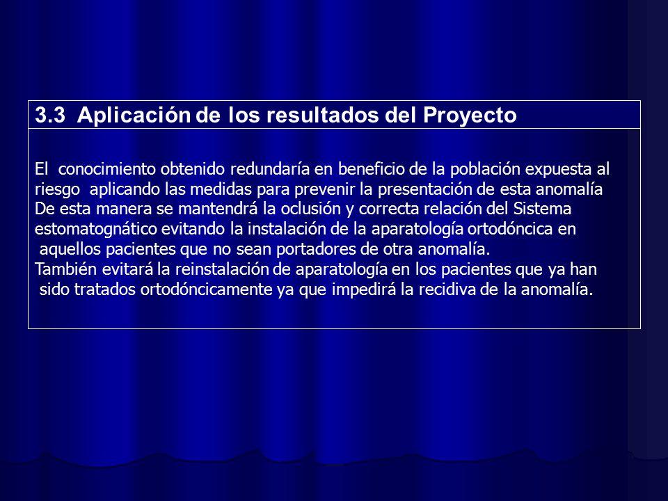 3.3 Aplicación de los resultados del Proyecto