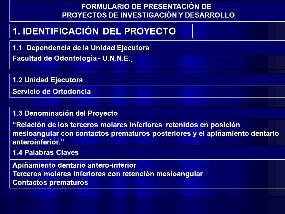 FORMULARIO DE PRESENTACIÓN DE PROYECTOS DE INVESTIGACIÓN Y DESARROLLO