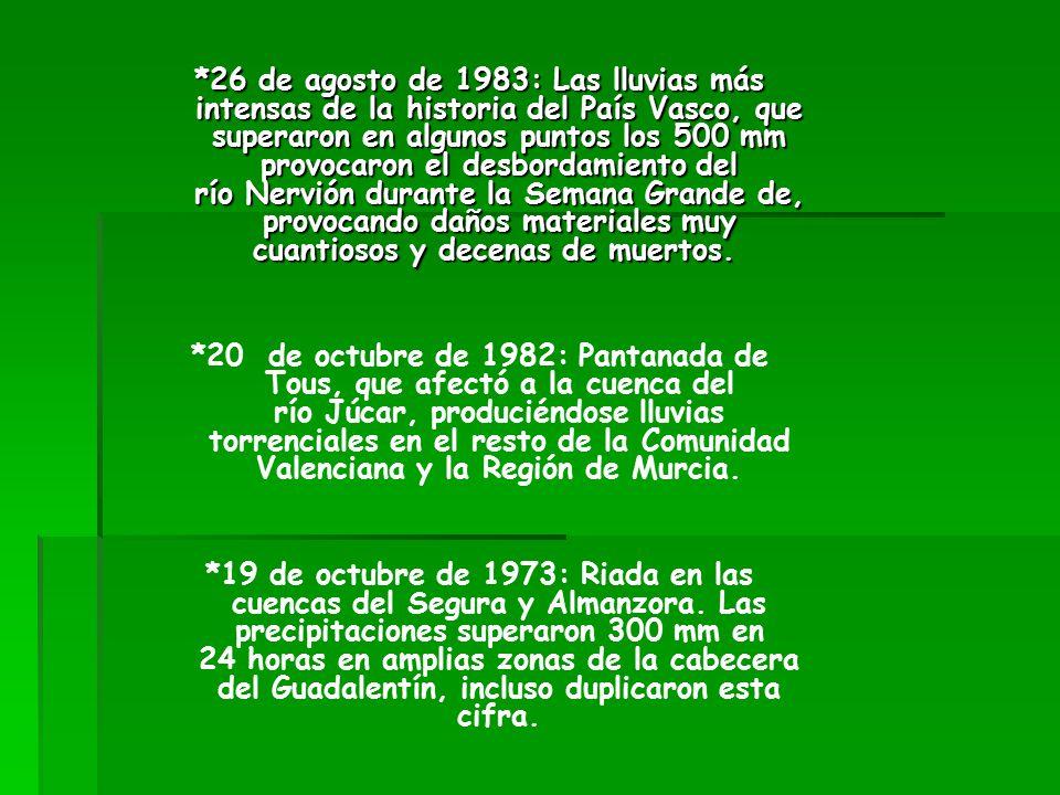 *26 de agosto de 1983: Las lluvias más intensas de la historia del País Vasco, que superaron en algunos puntos los 500 mm provocaron el desbordamiento del río Nervión durante la Semana Grande de, provocando daños materiales muy cuantiosos y decenas de muertos.