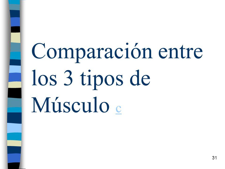 Comparación entre los 3 tipos de Músculo c