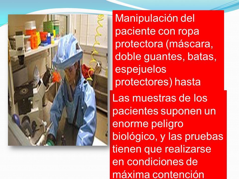 Manipulación del paciente con ropa protectora (máscara, doble guantes, batas, espejuelos protectores) hasta tanto se descarte la infección.