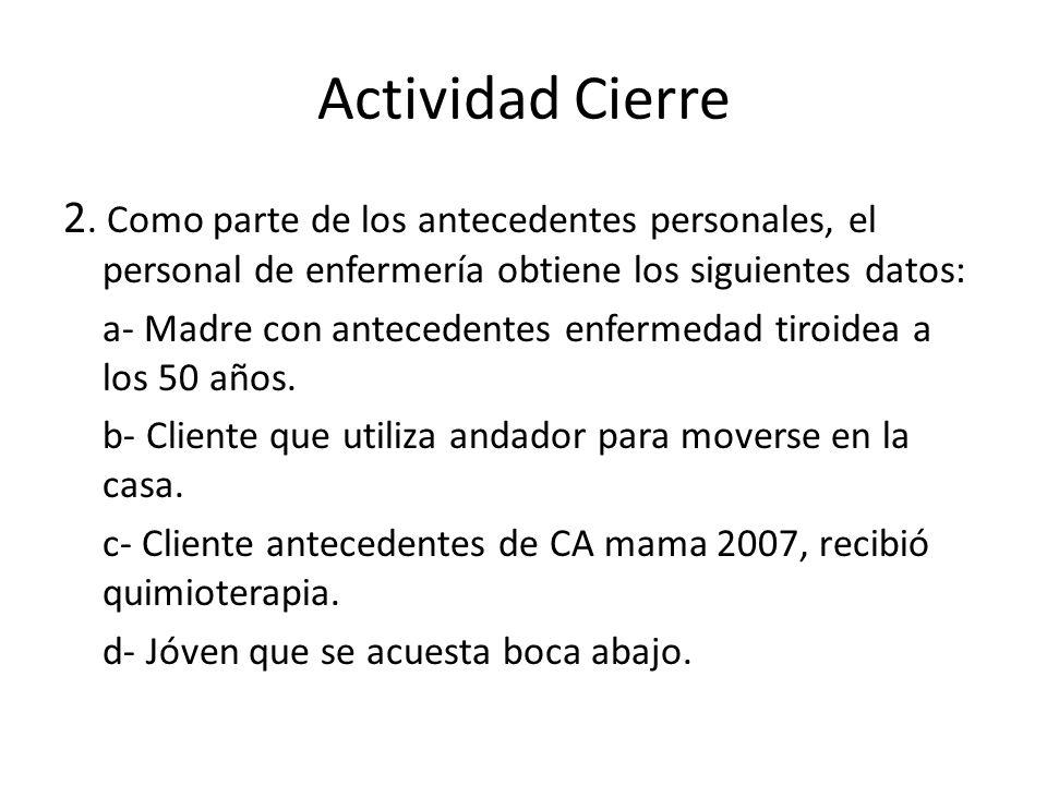 Actividad Cierre 2. Como parte de los antecedentes personales, el personal de enfermería obtiene los siguientes datos: