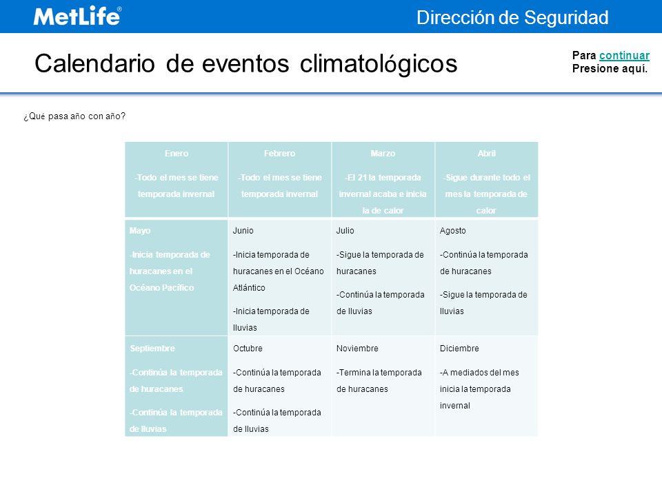 Calendario de eventos climatológicos