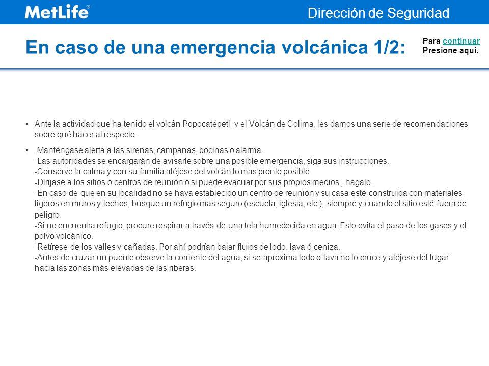 En caso de una emergencia volcánica 1/2: