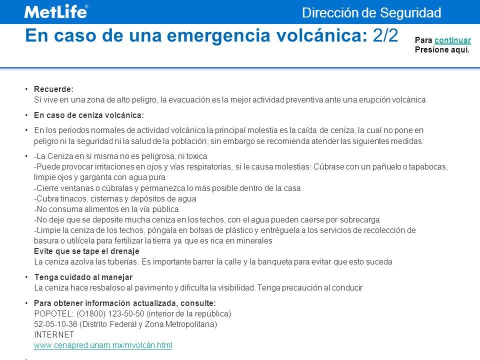 En caso de una emergencia volcánica: 2/2