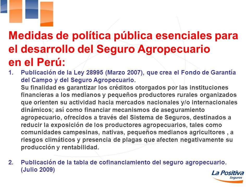 Medidas de política pública esenciales para el desarrollo del Seguro Agropecuario