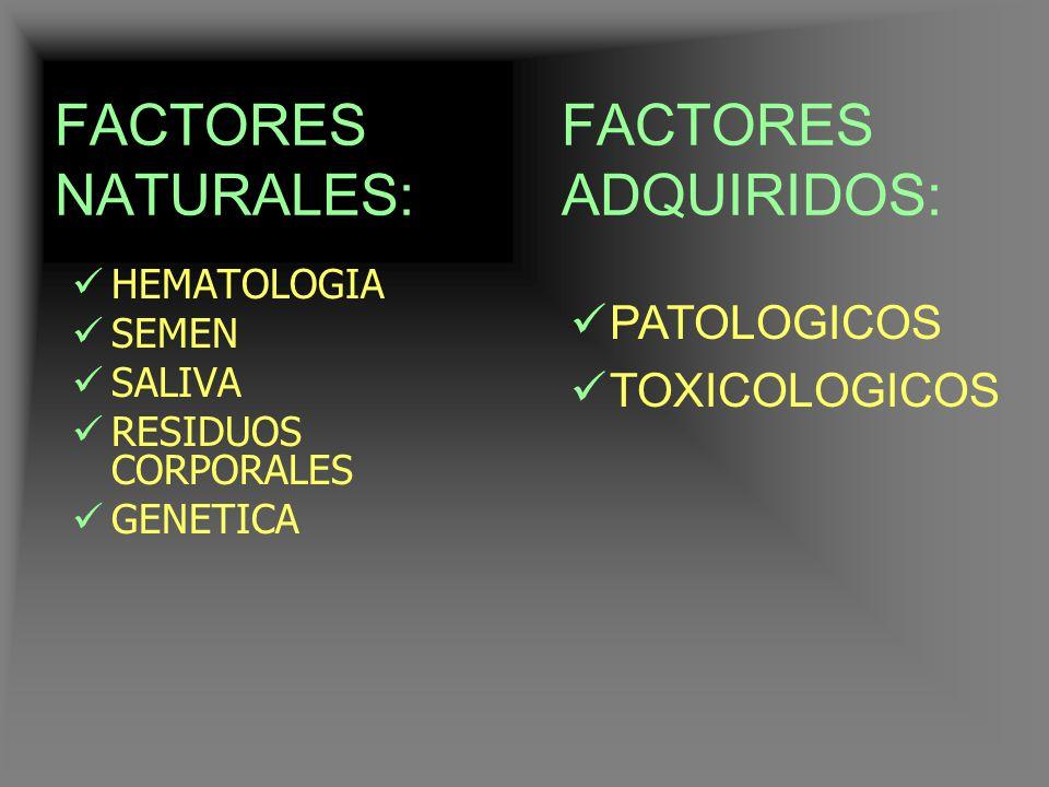 FACTORES NATURALES: FACTORES ADQUIRIDOS: PATOLOGICOS TOXICOLOGICOS