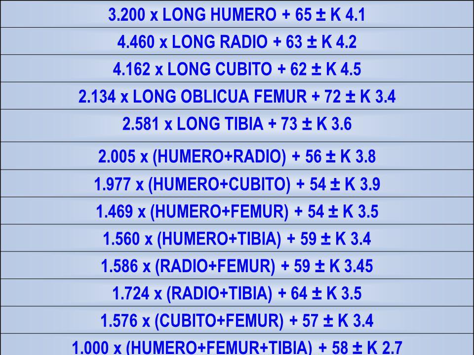2.134 x LONG OBLICUA FEMUR + 72 ± K 3.4