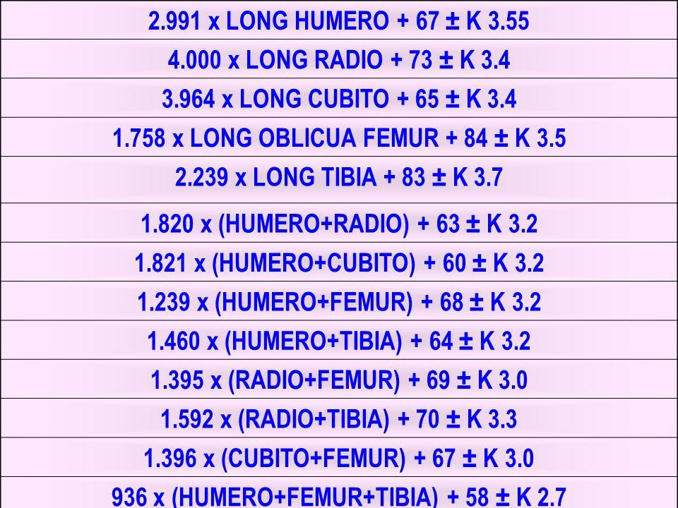 1.758 x LONG OBLICUA FEMUR + 84 ± K 3.5