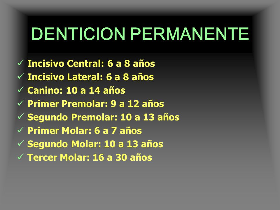 DENTICION PERMANENTE Incisivo Central: 6 a 8 años