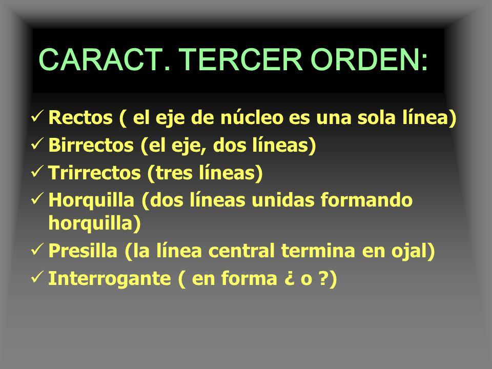 CARACT. TERCER ORDEN: Rectos ( el eje de núcleo es una sola línea)