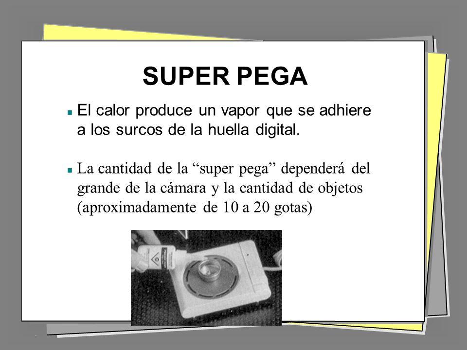 SUPER PEGA El calor produce un vapor que se adhiere a los surcos de la huella digital.