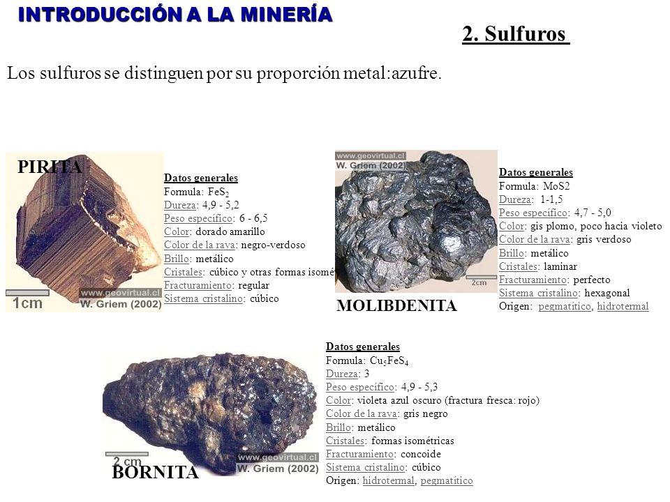 2. Sulfuros INTRODUCCIÓN A LA MINERÍA