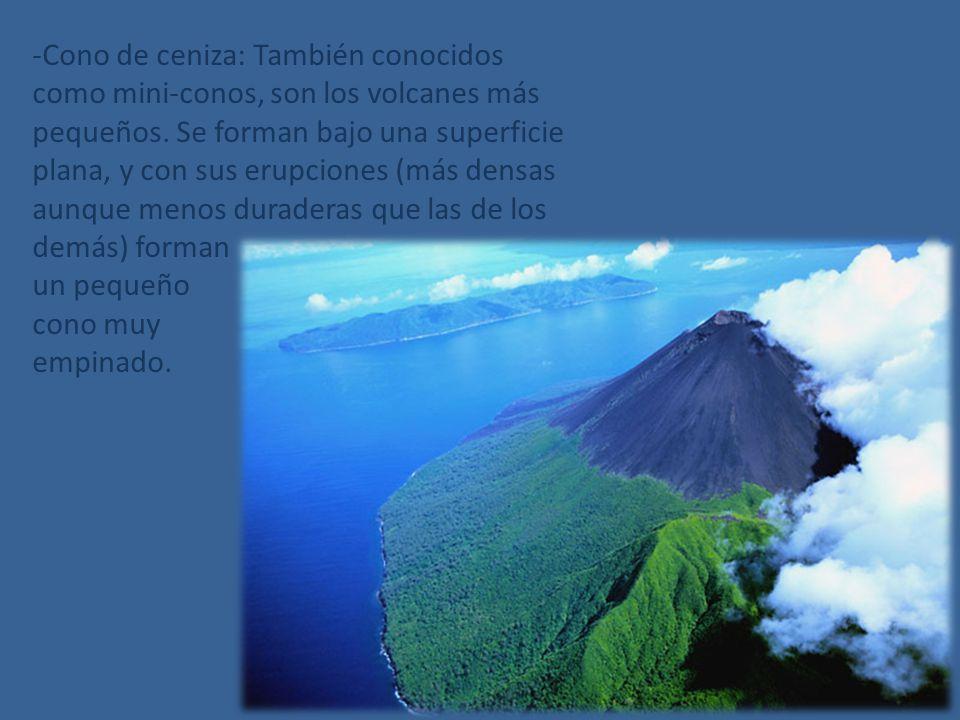 -Cono de ceniza: También conocidos como mini-conos, son los volcanes más pequeños. Se forman bajo una superficie plana, y con sus erupciones (más densas aunque menos duraderas que las de los demás) forman