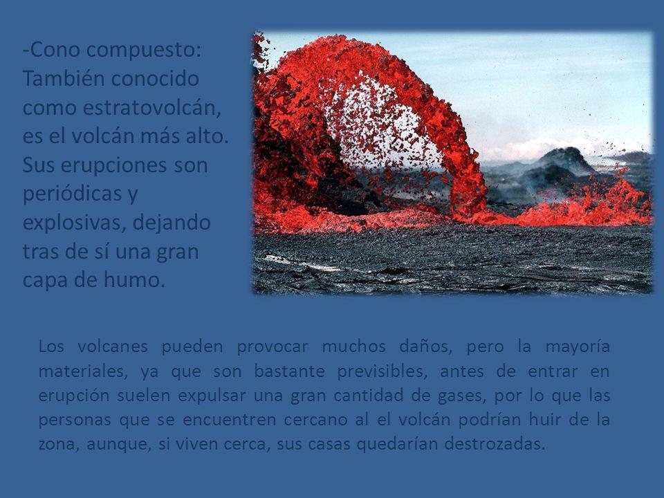 -Cono compuesto: También conocido como estratovolcán, es el volcán más alto. Sus erupciones son periódicas y explosivas, dejando tras de sí una gran capa de humo.