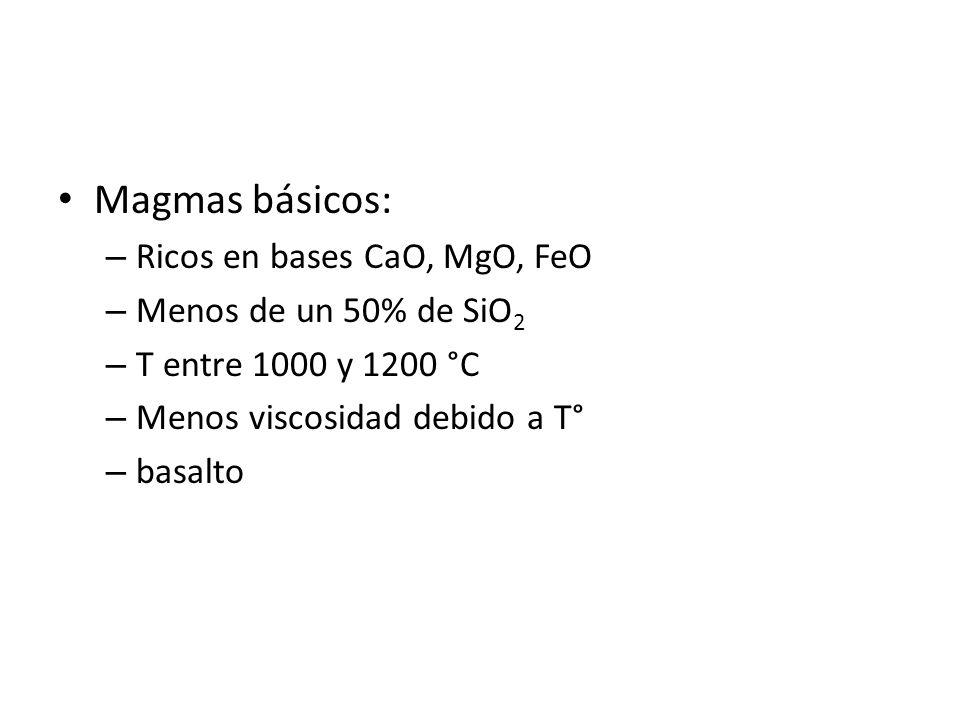 Magmas básicos: Ricos en bases CaO, MgO, FeO Menos de un 50% de SiO2