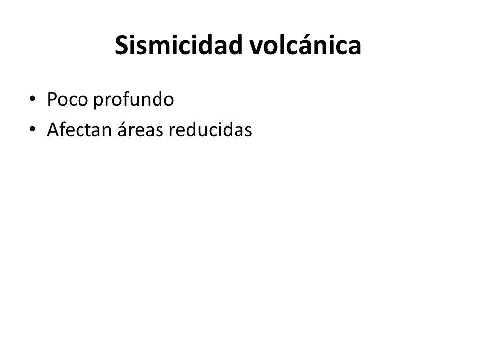 Sismicidad volcánica Poco profundo Afectan áreas reducidas