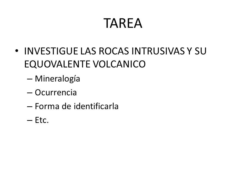 TAREA INVESTIGUE LAS ROCAS INTRUSIVAS Y SU EQUOVALENTE VOLCANICO
