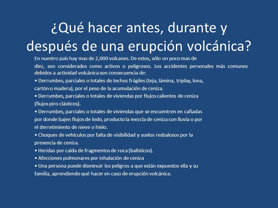 ¿Qué hacer antes, durante y después de una erupción volcánica