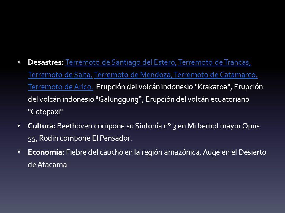 Desastres: Terremoto de Santiago del Estero, Terremoto de Trancas, Terremoto de Salta, Terremoto de Mendoza, Terremoto de Catamarco, Terremoto de Arico. Erupción del volcán indonesio Krakatoa , Erupción del volcán indonesio Galunggung , Erupción del volcán ecuatoriano Cotopaxi