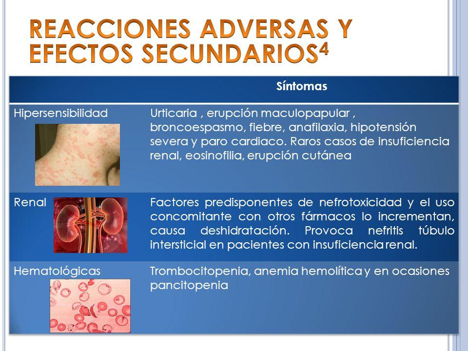 REACCIONES ADVERSAS Y EFECTOS SECUNDARIOS4