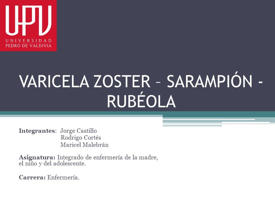 VARICELA ZOSTER – SARAMPIÓN - RUBÉOLA