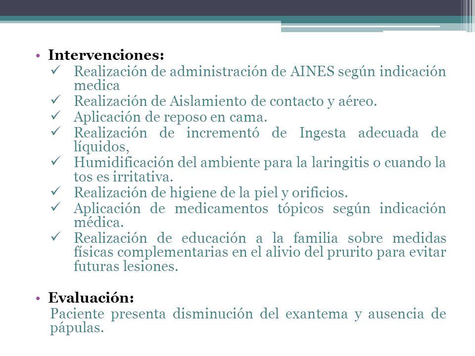 Intervenciones: Realización de administración de AINES según indicación medica. Realización de Aislamiento de contacto y aéreo.