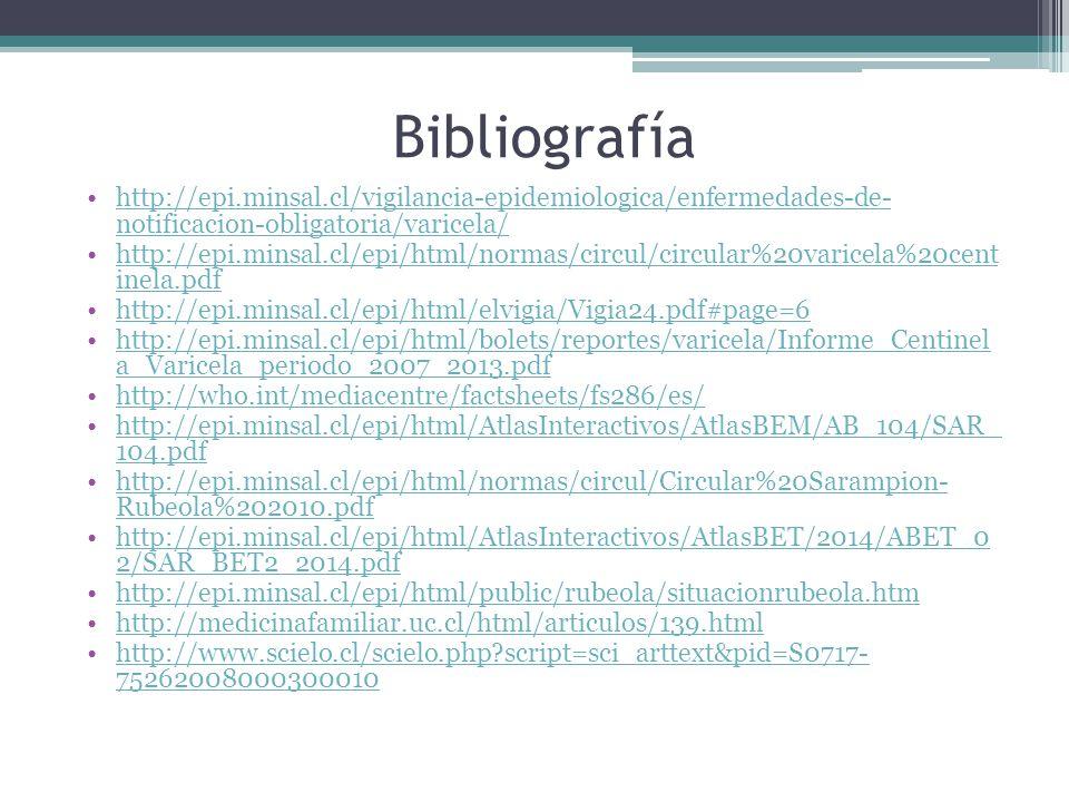 Bibliografía http://epi.minsal.cl/vigilancia-epidemiologica/enfermedades-de- notificacion-obligatoria/varicela/