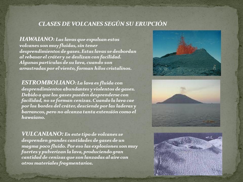CLASES DE VOLCANES SEGÚN SU ERUPCIÓN.